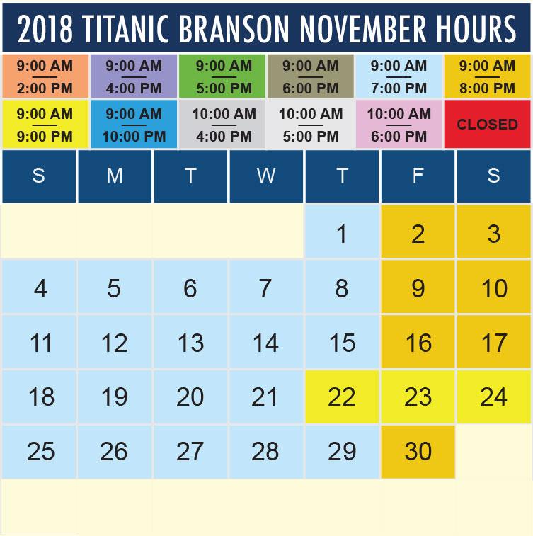 Titanic Branson November 2018 hours