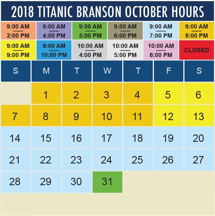 Titanic Branson October 2018 hours