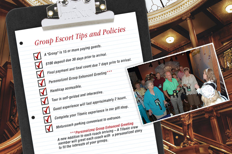 Titanic Branson group escort tips and policies