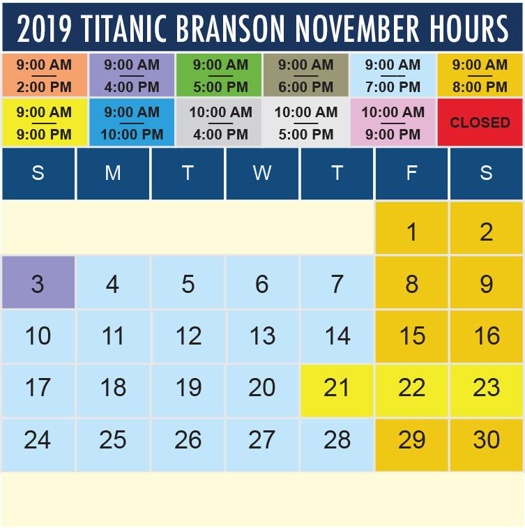 Titanic Branson November 2019 hours
