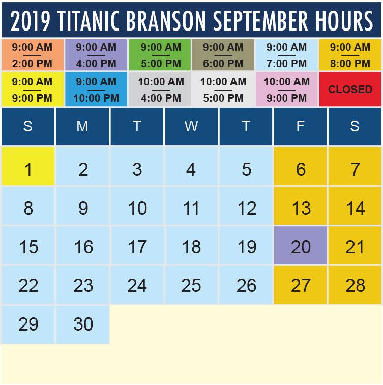 Titanic Branson September 2019 hours