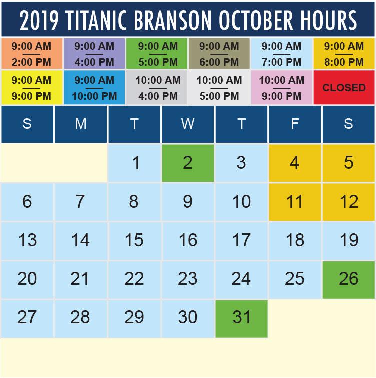Titanic Branson October 2019 hours
