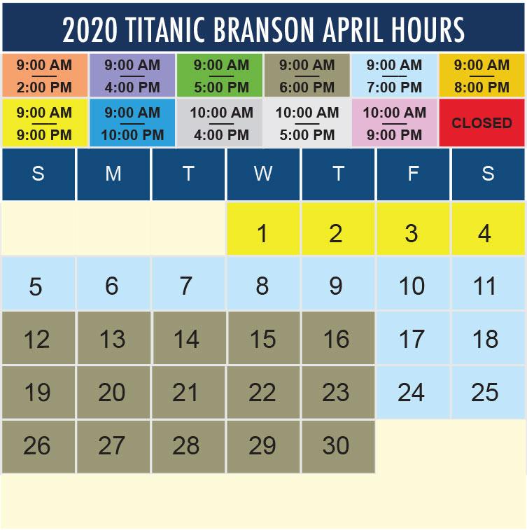 Titanic Branson April 2020 hours