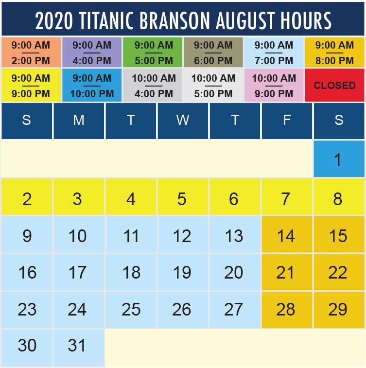 Titanic Branson August 2020 hours