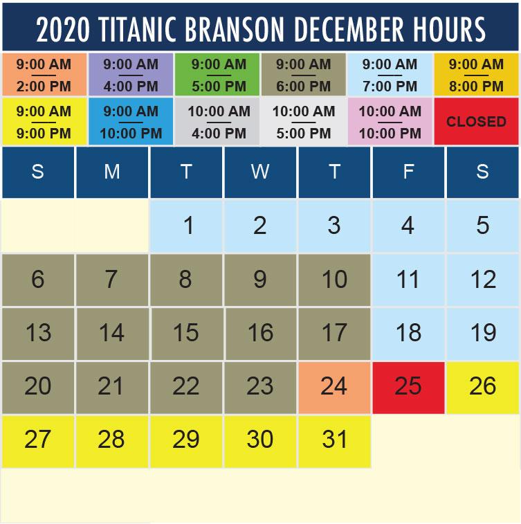 Titanic Branson December 2020 hours