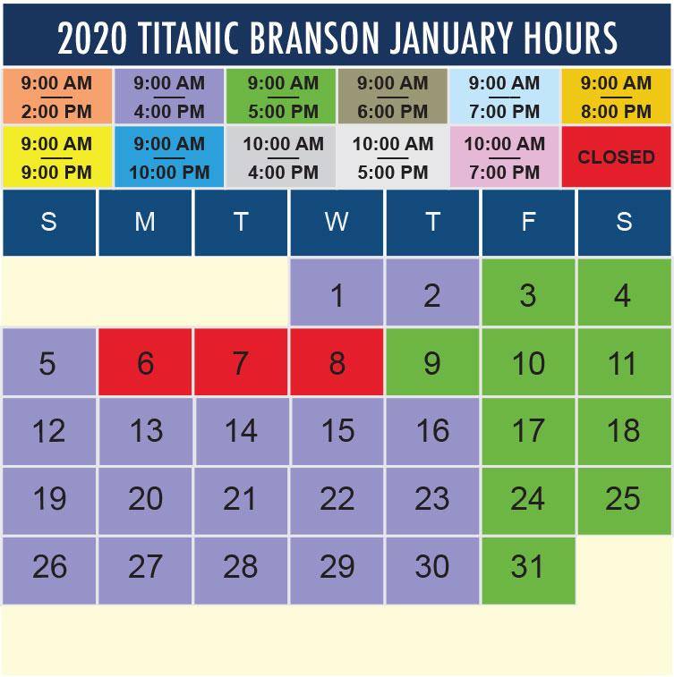 Titanic Branson January 2020 hours