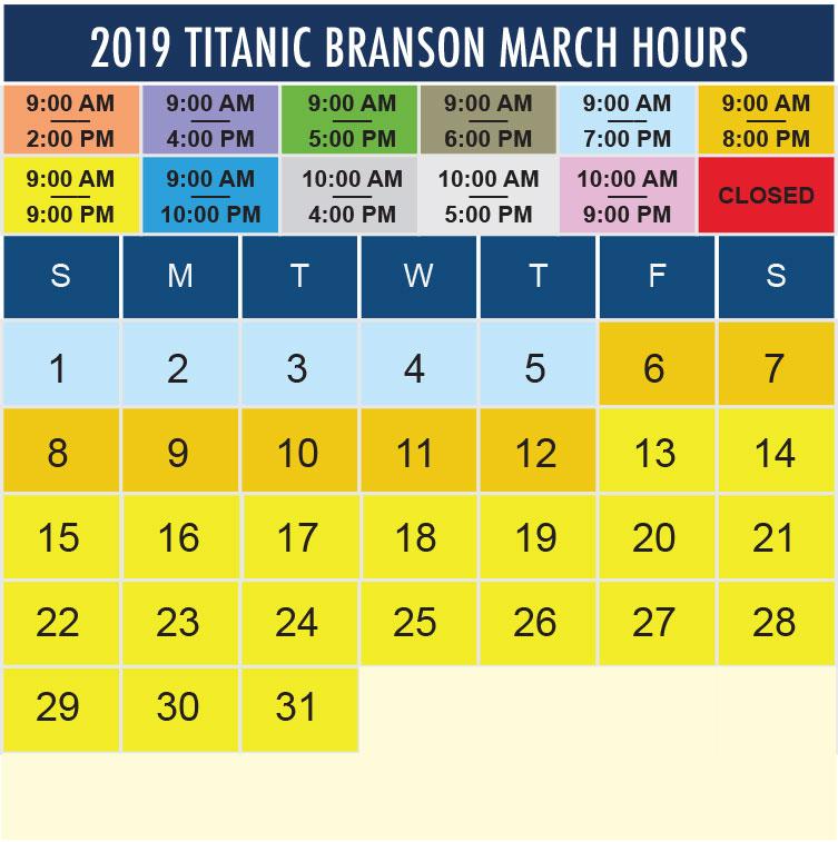 Titanic Branson March 2020 hours
