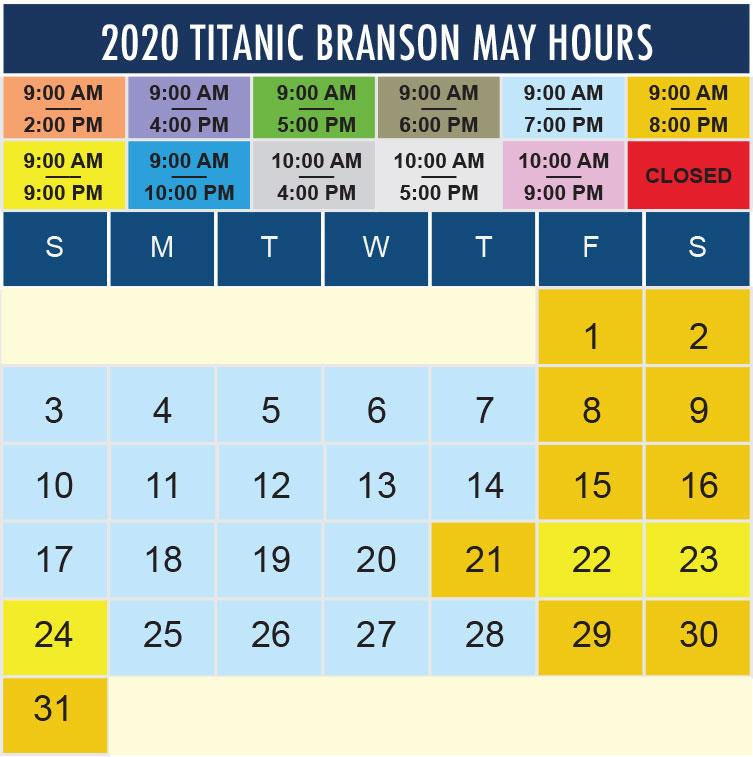 Titanic Branson May 2020 hours