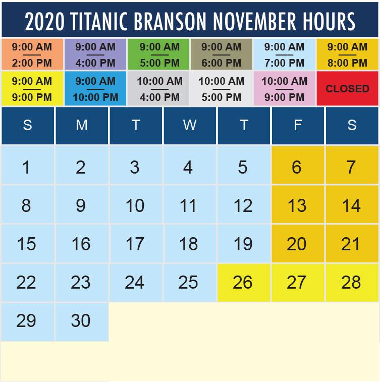Titanic Branson November 2020 hours