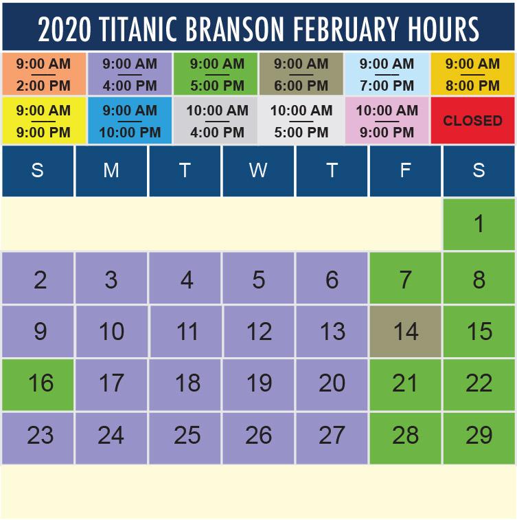 Titanic Branson February 2020 hours