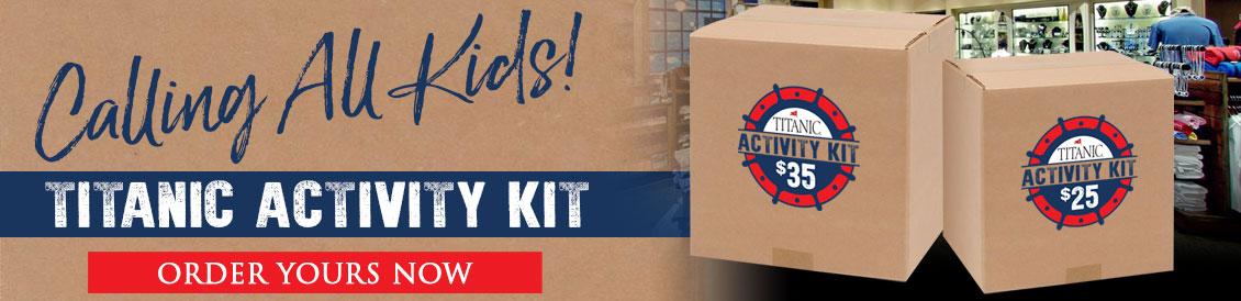 Titanic Activity Kits. Surprise Titanic activity items. Every box has activities for your child. Each kit is different. Free shipping.