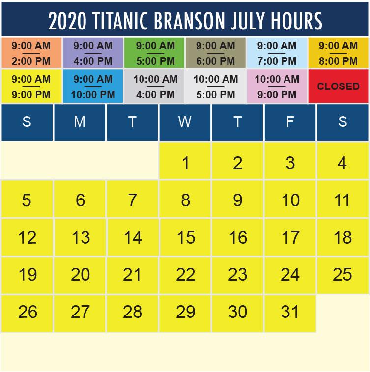 Titanic Branson July 2020 hours