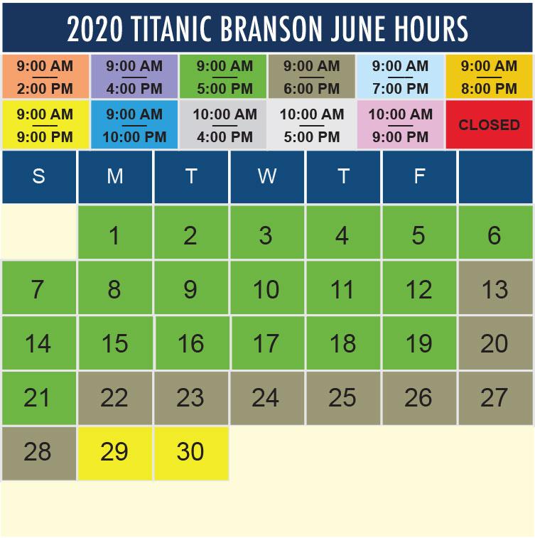 Titanic Branson June 2020 hours
