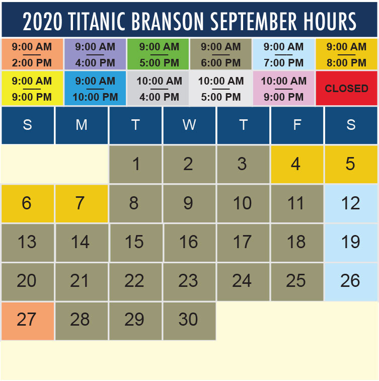 Titanic Branson September 2020 hours