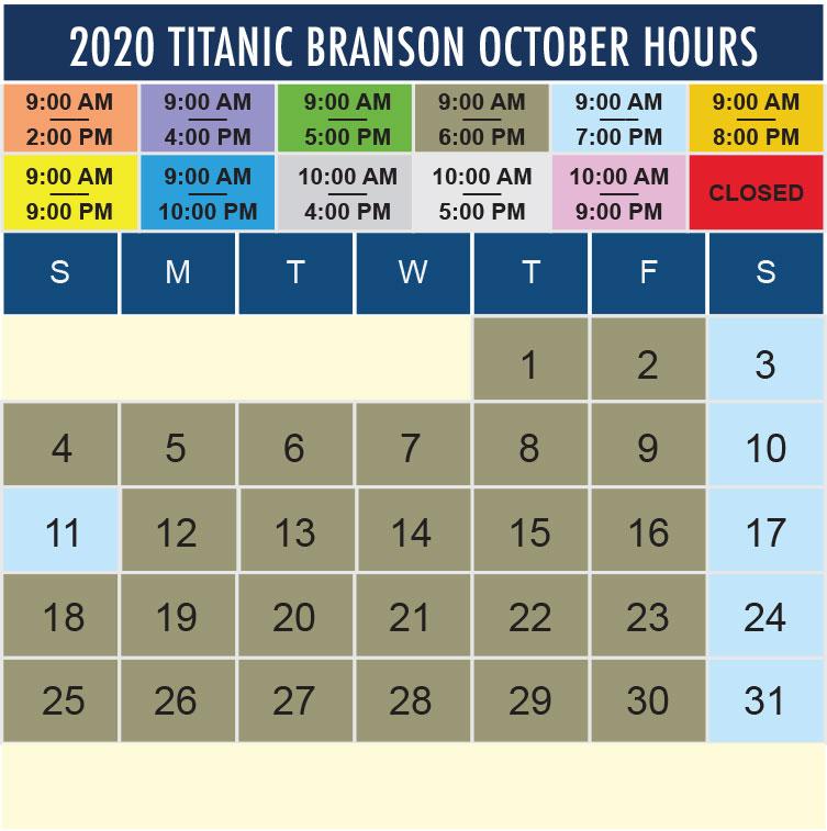 Titanic Branson October 2020 hours