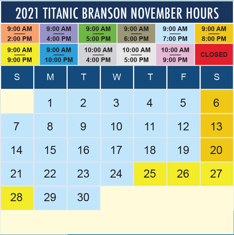 Titanic Branson November 2021 hours