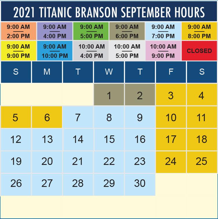 Titanic Branson September 2021 hours