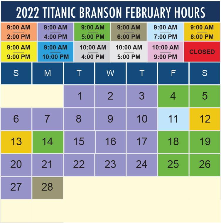 Titanic Branson February 2022 hours